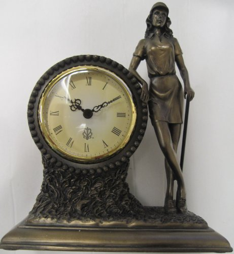 Lady Golfer Bronze Finish Clock for Shelf, Desk, or Gift