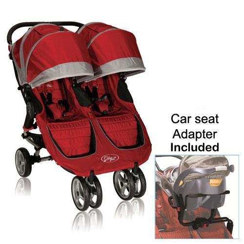 baby jogger 12236 city mini double stroller in crimson gray with new car seat adapter baby shop. Black Bedroom Furniture Sets. Home Design Ideas