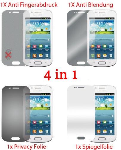 Pellicola protettiva per Samsung Galaxy S3 Mini I8190 (4 pezzi) - pellicola trasparente di protezione frontale. Specchio, trasparente, anti impronta digitale, privacy