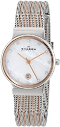 "Skagen Women's 355SSRS ""Ancher"" Stainless Steel Two-Tone Silver and Rose-Gold Watch"