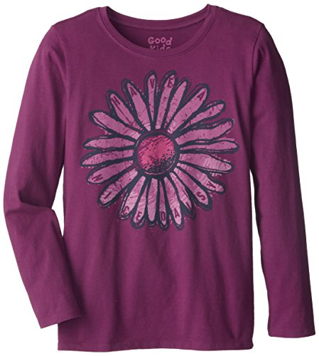 Life Is Good Girl'S Easy Long Sleeve Fresh Nice Daisy T-Shirt (Perfect Plum), Large front-139125