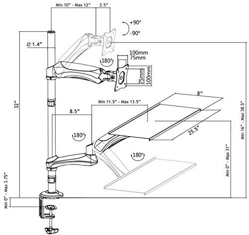 Vivo Single Monitor Sit Stand Height Adjustable