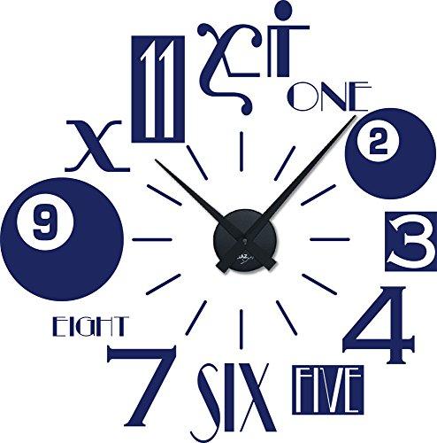 Wandtattoo Uhr Wanduhr mit Uhrwerk für Wohnzimmer moderne Wanduhr Zahlen Mix (Uhrwerk schwarz//049 königsblau)