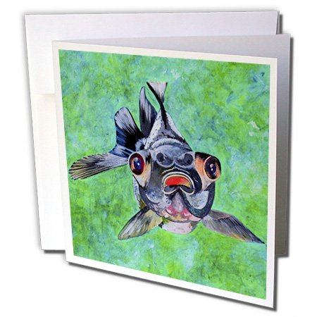 Gc_46714_1 Taiche - Acrylic Painting - Fish - Black Moor Goldfish - Black Moor Goldfish, Telescope Goldfish, Goldfish, Dragon Eye Goldfish - Greeting Cards-6 Greeting Cards With Envelopes