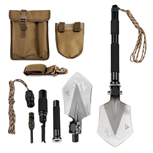 FiveJoy Compact Military Folding Shovel (C1) - Portable Multitool, Tactical Entrenching Tool for Camping, Backpacking, Hiking, Car, Garden, Snow, Heavy Duty Emergency Survival Gear (Case Included) (Ice Rescue Gear compare prices)