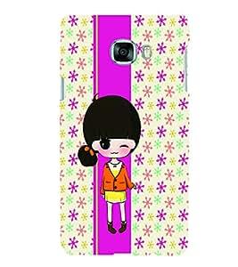 PrintVisa Cute Cartoon Art Print & Pattern Girl 3D Hard Polycarbonate Designer Back Case Cover for Samsung C7