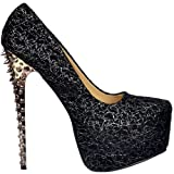 Onlineshoe Ladies Black Silver Chrome Spiked Studded High Heels prom party shoes