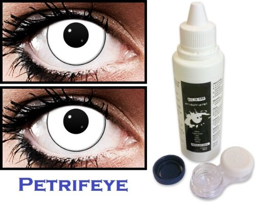 2 White Marilyn Manson Style Contact Lenses With Black Rim For Halloween With Cleaning Solution And Case (Lasts For 90 Days)
