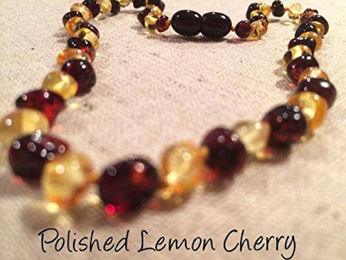 Baltic Amber Teething Necklace for Babies and Toddlers Polished Lemon Cherry - 1