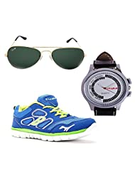 Elligator RoyalBlue & Green Shoes & Watch With Elligator Sunglass For Men's