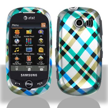 Blue Plaid Cross Checker Design Snap on Hard Shell Cover Protector Faceplate Skin Case for AT&T Samsung Flight2 Flight 2 II A927 + LCD Screen Guard Film (Free Wristband)