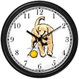 Labrador Retriever (Yellow) Puppy Dog Wall Clock by WatchBuddy Timepieces (Black Frame)