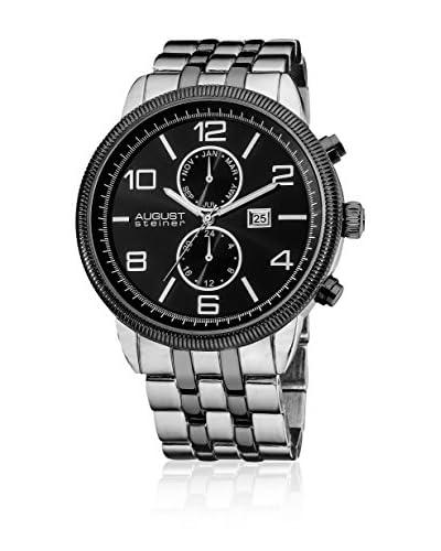 August Steiner Reloj con movimiento cuarzo suizo AS8069BK Plateado 48 mm