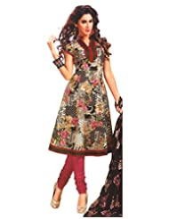 Namaskaar India Classic Black & Pink Printed Salwar Suit Dupatta Material For Women