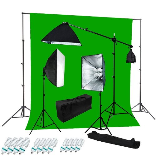 CanadianStudio 2400 Watt Digital Video Continuous Softbox Lighting Kit and Boom Set with High Key Muslin chromakey Green Screen and Backdrop stand kit - FREE SHIPPING FROM CANADA