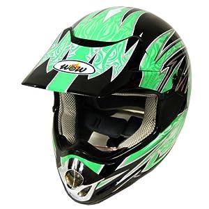 New Motocross ATV Dirt Bike MX Adult Racing Helmet , Green, XL