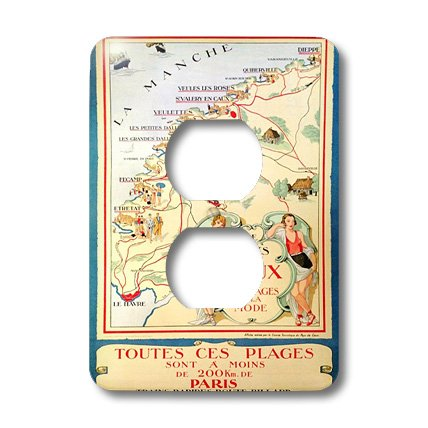 Lsp_155580_6 Florene French Vintage - Vintage Tourist Map Of France In French - Light Switch Covers - 2 Plug Outlet Cover