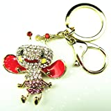 CUTE honeybee rhinestone Key Chain Crystal red bee Key ring in gift's box