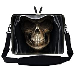 Meffort Inc 17 17.3 inch Neoprene Laptop Sleeve Bag Carrying Case with Hidden Handle and Adjustable Shoulder Strap - Skull Face Design
