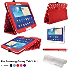 Foxnovo® Polka Dot Pattern PU Case For Samsung Galaxy Tab 3 10.1 P5200 P5210 & Stylus Pen & Screen Protector & Cleaning Cloth (Red)