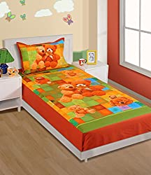 Swayam Kids N More Digital Print Cotton Single Baby Bedsheet with 1 pillow cover - Multicolor (SKB02-191)