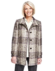 Classic Bouclé Checked Coat with Wool