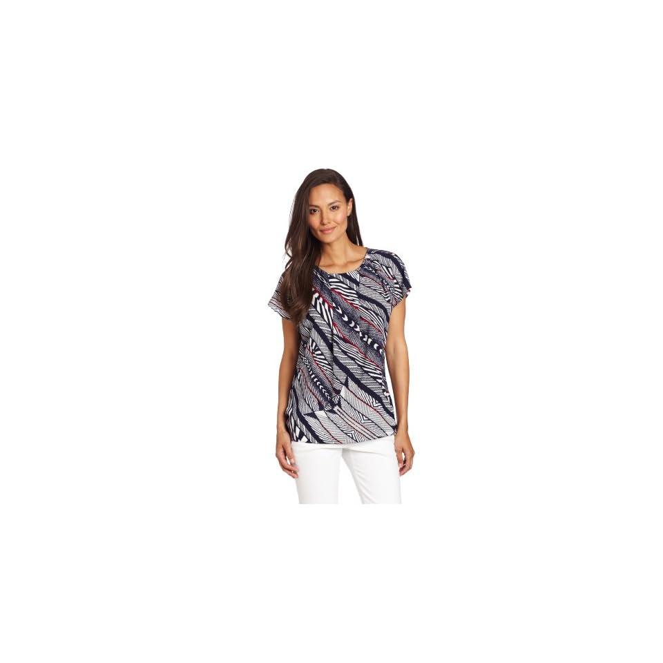 Anne Klein Womens Bias Stripe Print Blouse, New Marine Multi, X Small