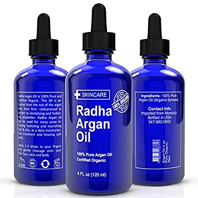 Best Argan Oil for Hair, Face & Skin 4 Oz - 100% Pure Certified Organic - Best Moroccan Anti-Aging conditioner and Moisturizer - Virgin, Cold Pressed, Unrefined by Radha Beauty Products