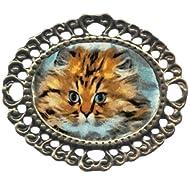 Fat Cat Large Antiqued Brass Filigree Brooch