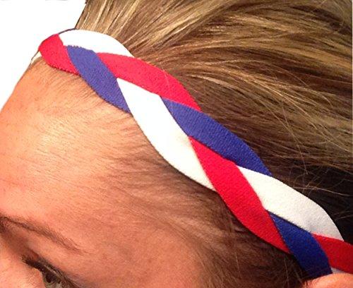 It's Ridic! No Slip Grip /Non-Slip Sports / Athletic Nylon Triple Braided Sports Headband (Red | White | Blue) (Red White Blue Headband compare prices)