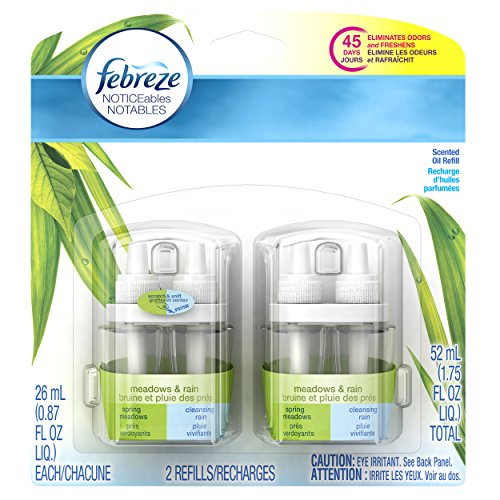 Febreze  Air Freshener, Noticeables Air Freshener,  Meadows & Rain Dual Refill Air Freshener (2 Count, 1.75 Oz) (Febreze Electric Air Freshener compare prices)