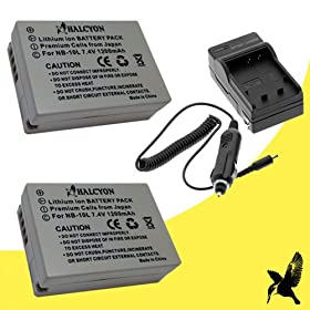 Two Halcyon 1200 mAH Lithium Ion Replacement Battery and Charger Kit for Canon NB-10L and Canon Powershot SX40 HS, Canon Powershot SX50 HS, Canon Powershot G1X, Canon Powershot G15