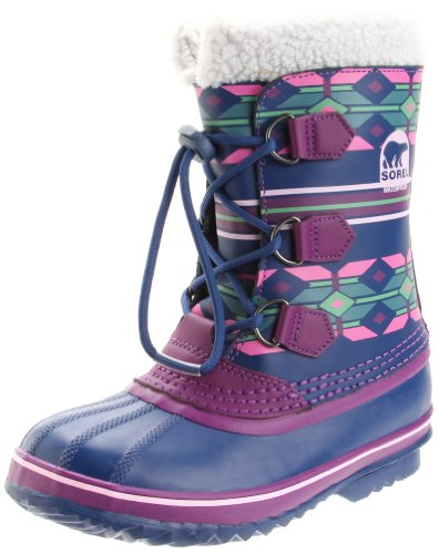 Sorel Yoot Pac Printed Leather 1830 - Waterproof Winter Boot (Little Kid/Big Kid),Estate Blue/Gloxinia,4 M US Big Kid