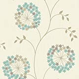Duck Egg / Cream - 45001 - Starflower - Flowers - World of Colour - A Focus Brand Wallpaper