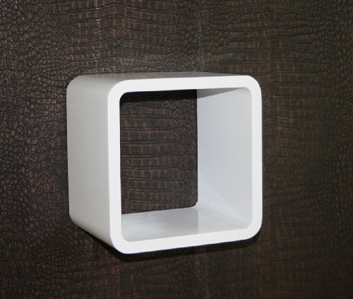 Homestyle4u Retro Cube Design Wandregal Wandboard Regal Würfel 1er weiß