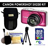 Canon Powershot SX230 HS Digital Camera (Red) Value Kit