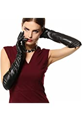 WARMEN ladies Opera Long Genuine Soft Nappa Leather Gloves Black
