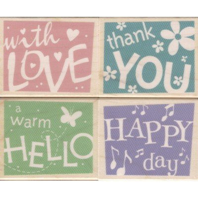 Word Confetti Wood Mounted Rubber Stamp Set (LL066)