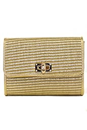 lcolette Bamboo Straw Clutch Bag With Metal Strap hd2011 (GOLD)