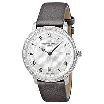 Frederique Constant Slim Line Silver Guilloche Dial Grey Satin Ladies Watch FC-220M4SD36