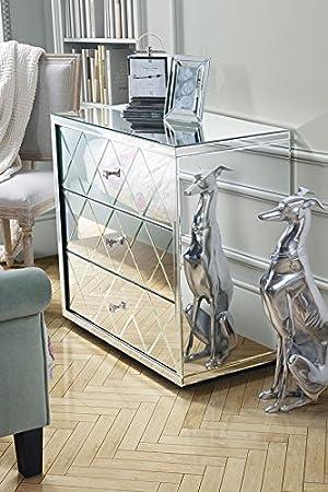 MY-Furniture Comoda baja de espejo con 3 cajones y zocalo – Gama KNIGHTSBRIDGE