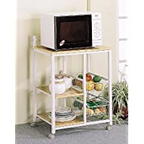 Natural And White Finish Microwave Cart with Casters