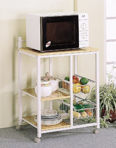 White  Natural Finish Kitchen Microwave Cart w CastersB0001JVD38