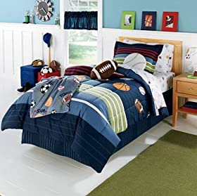 Fabulous MVP Sports Boys Baseball Basketball Football Twin Comforter Set Piece Bed In