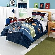 MVP Sports Boys Baseball Basketball Football Full Comforter Set (7 Piece Bed In A Bag)