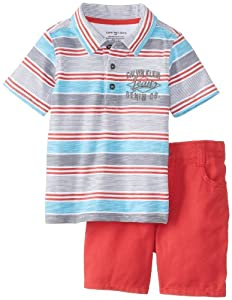 Calvin Klein Baby-Boys Infant Blue Polo with Stripes and Short by Calvin Klein