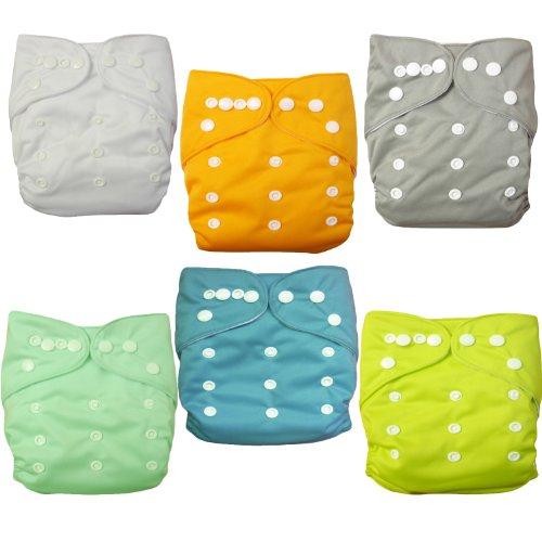 Alva Baby 6Pcs Pack Pocket Washable Adjustable Cloth Diaper With 2 Inserts Each (Neutral Color) 6Bm98