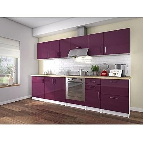 Neo cuisine complete 3 metres - laqué aubergine