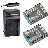 DSTE® 2pcs Rechargeable Li-ion Battery + Charger DC18 for Canon NB-2L, NB-2LH, BP-2L5, BP-2LH, PowerShot G7, G9, S30, S40, S45, S50, S60, S70, S80, DC410, DC420, VIXIA HF R10, HF R100, HF R11, EOS 350D, 400D, Digital Rebel XT, XTi DSLR Cameras