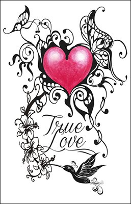 True Love Heart w/ Hummingbird Temporary Tattoo